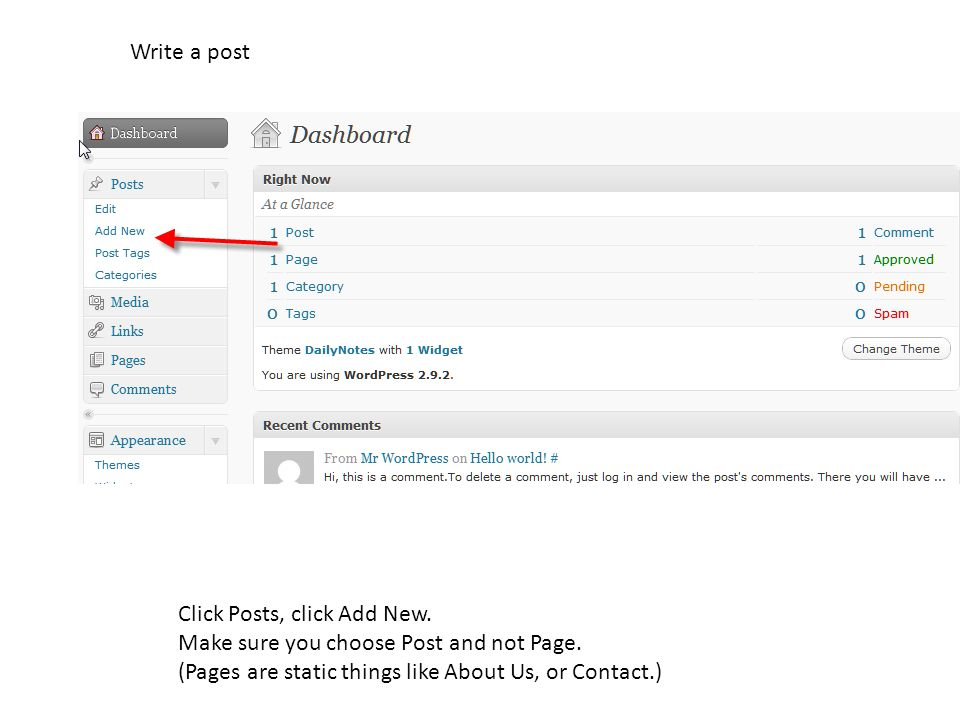 Write a post Click Posts, click Add New.Make sure you choose Post and not Page.