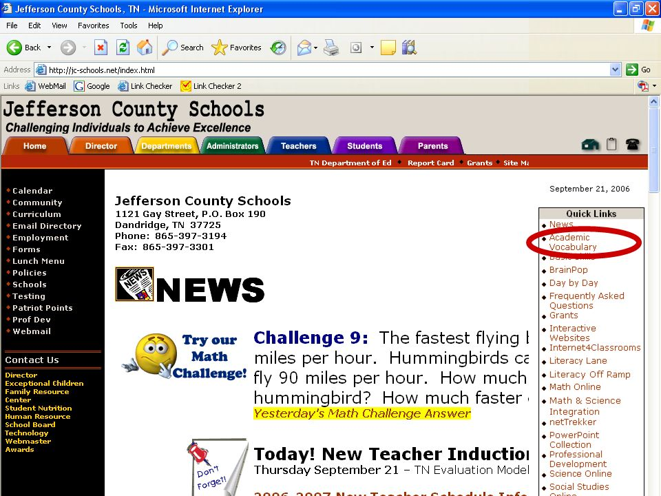 Academic Vocabulary Jefferson County Schools http://jc-schools.net Quick Links Academic Vocabulary