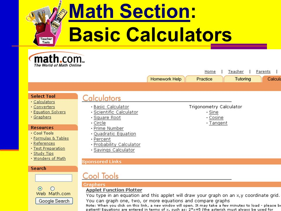 Math SectionMath Section: Basic Calculators