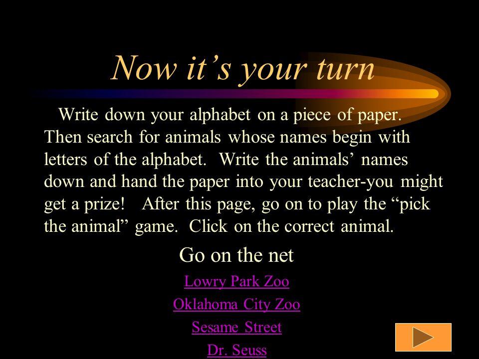 Letters U-Z U unicorn V vampire bat W whale X xenopus Y yak Z zebra