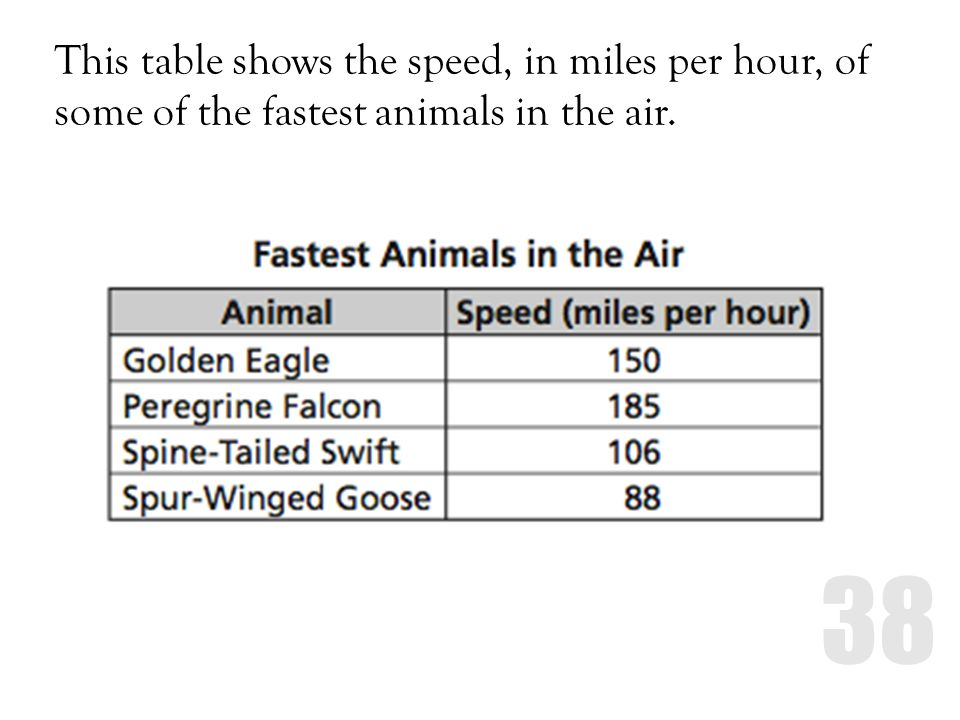 This table shows the speed, in miles per hour, of some of the fastest animals in the air.