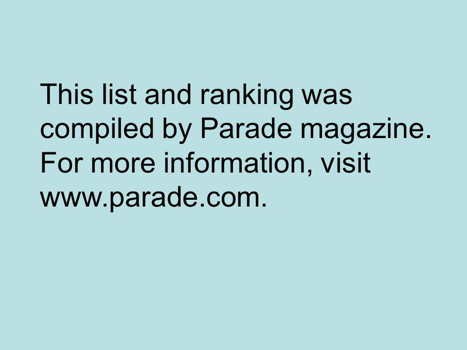 This list and ranking was compiled by Parade magazine. For more information, visit www.parade.com.