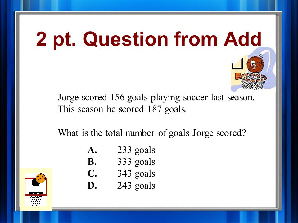 2 pt.Question from Add Jorge scored 156 goals playing soccer last season.