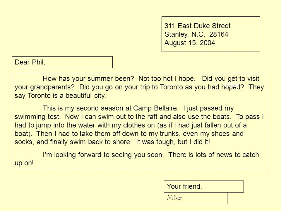 311 East Duke Street Stanley, N.C. 28164 August 15, 2004 Dear Phil, How has your summer been? Not too hot I hope. Did you get to visit your grandparen