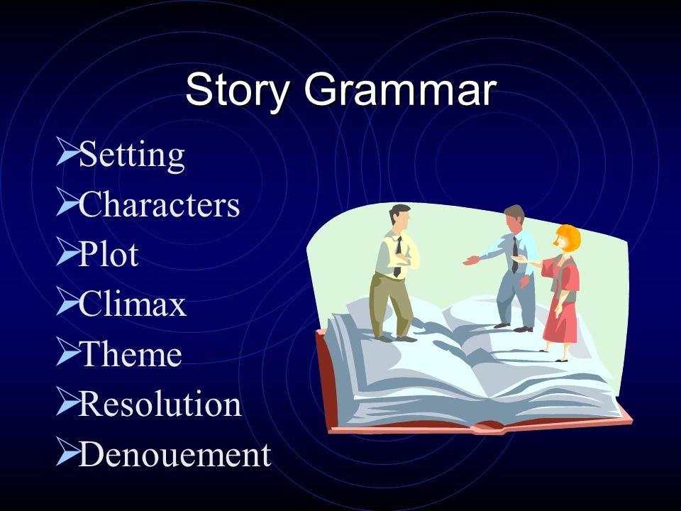 Story Grammar Setting Characters Plot Climax Theme Resolution Denouement
