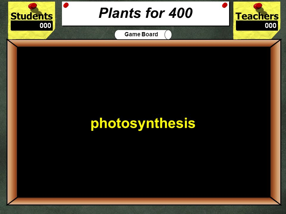 StudentsTeachers Game Board The green substance that gives a plant its color is called ______ 300 chlorophyll Plants for 300