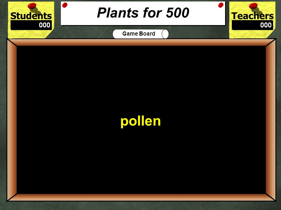 StudentsTeachers Game Board The process that plants use to change carbon-dioxide into oxygen is called 400 photosynthesis Plants for 400
