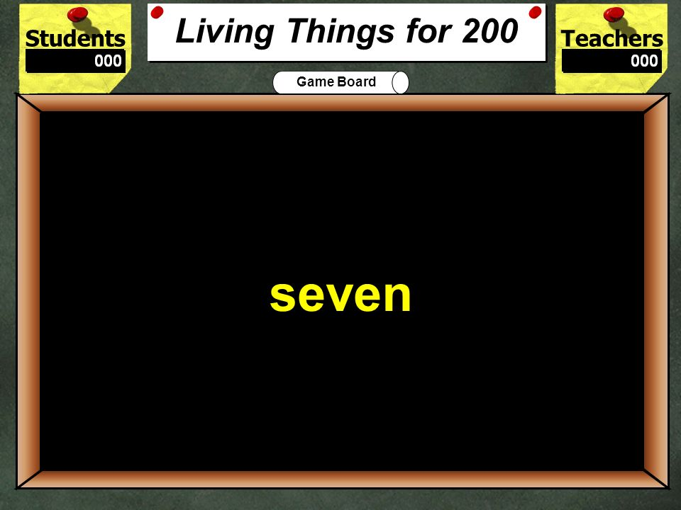StudentsTeachers Game Board Which object is non-living: pelican, robin, rose, or paper 100 paper Living Things for 100
