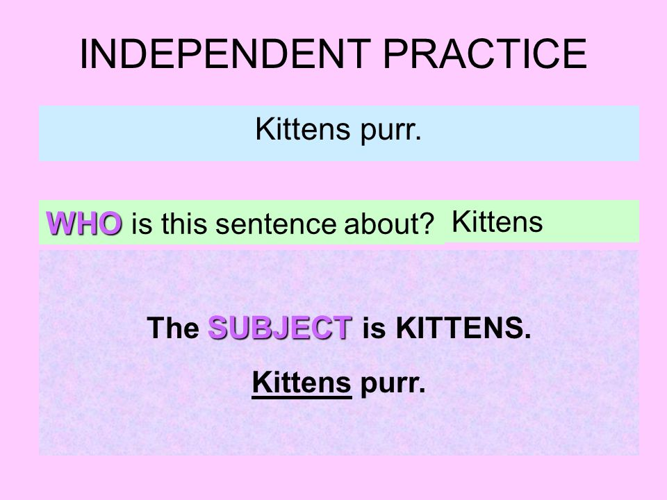 INDEPENDENT PRACTICE Kittens purr. WHO is this sentence about? Kittens SUBJECT The SUBJECT is KITTENS. Kittens purr.