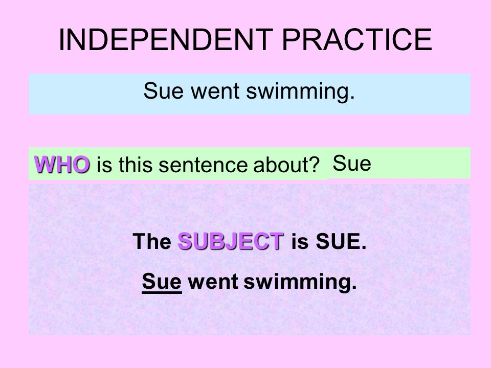 INDEPENDENT PRACTICE Sue went swimming. WHO is this sentence about? Sue SUBJECT The SUBJECT is SUE. Sue went swimming.