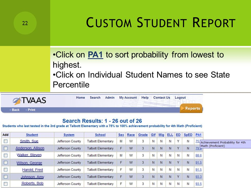 21 C USTOM S TUDENT R EPORT Click Search 21