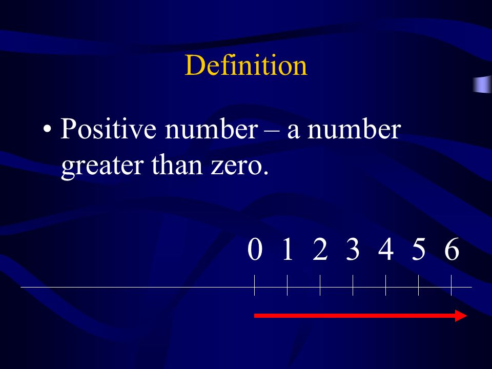 Definition Negative number – a less than zero. 0123456-2-3-4-5-6