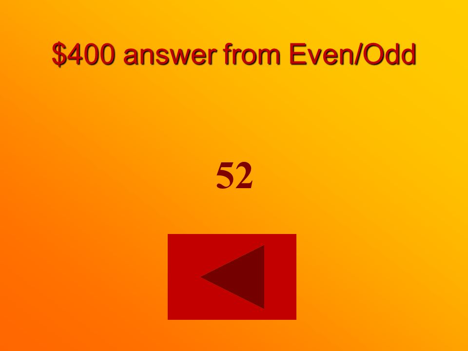 $400 question from Even/Odd Which of the following is an even number? 52 or 41