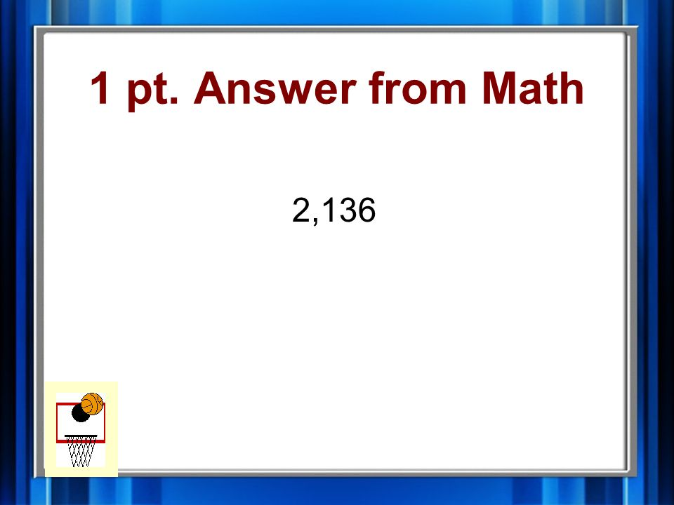 1 pt. Question from Math 356 x 6