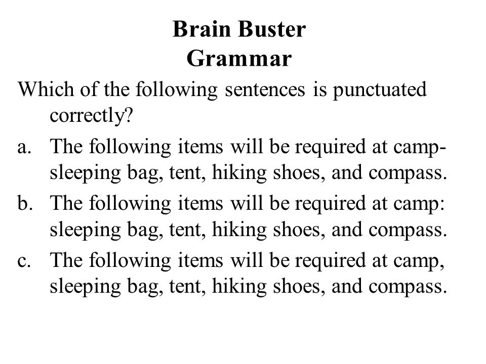 Brain Buster Grammar Which of the following sentences is punctuated correctly? a.The following items will be required at camp- sleeping bag, tent, hik