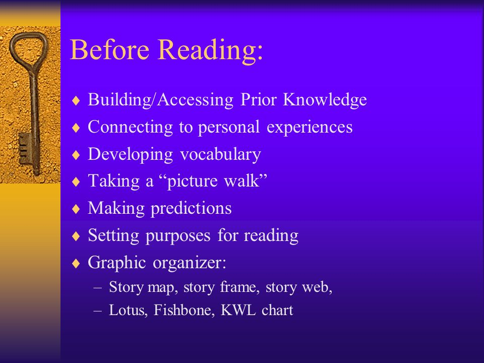 Before Reading: Building/Accessing Prior Knowledge Connecting to personal experiences Developing vocabulary Taking a picture walk Making predictions S