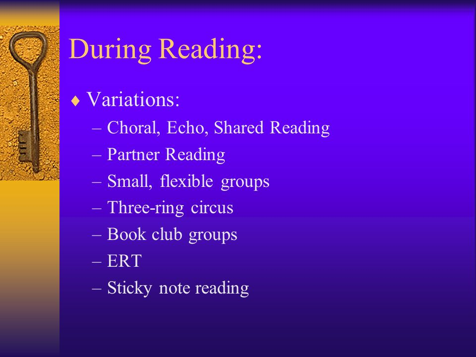 During Reading: Variations: –Choral, Echo, Shared Reading –Partner Reading –Small, flexible groups –Three-ring circus –Book club groups –ERT –Sticky n