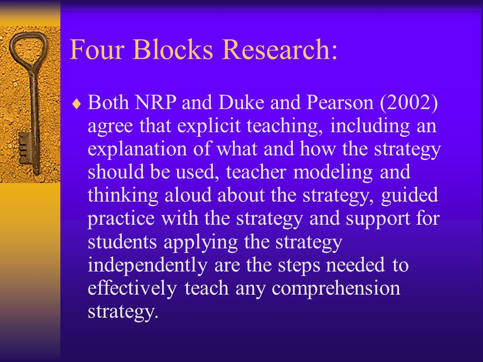 Four Blocks Research: Both NRP and Duke and Pearson (2002) agree that explicit teaching, including an explanation of what and how the strategy should