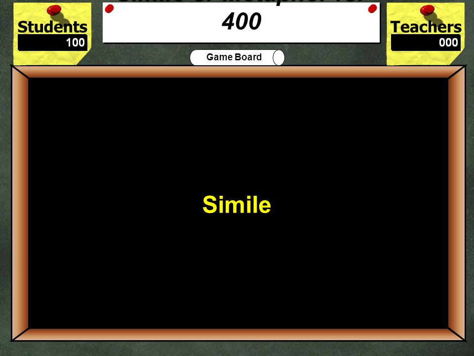 StudentsTeachers Game Board My brother is a bear when he stays up too late. 300 Metaphor Simile or Metaphor for 300