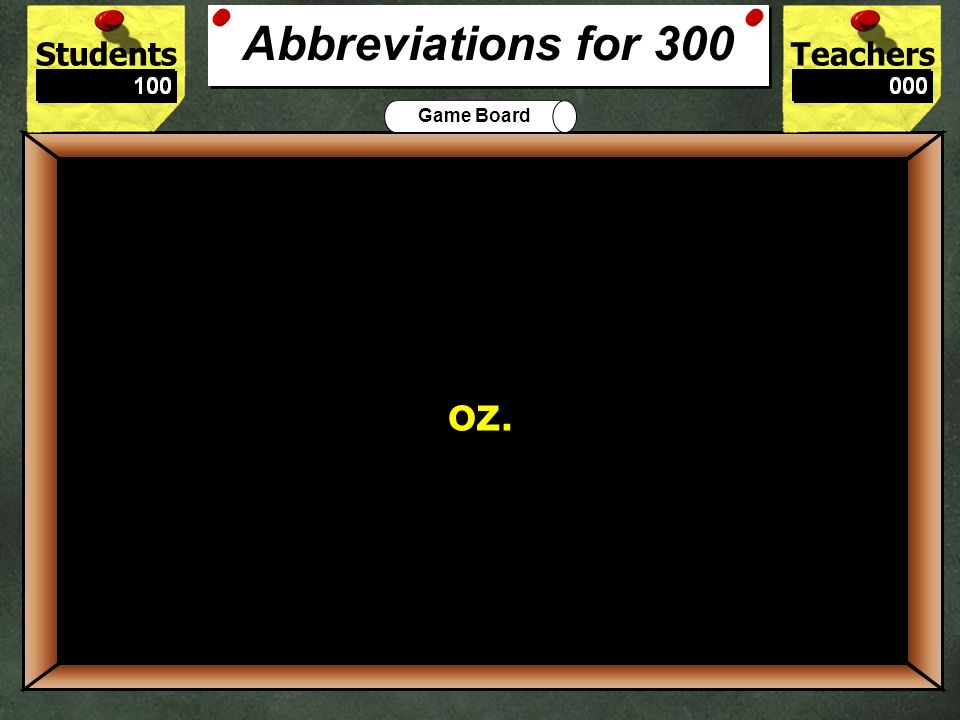 StudentsTeachers Game Board Blvd. is the correct abbreviation for what word? 200 Boulevard Abbreviations for 200