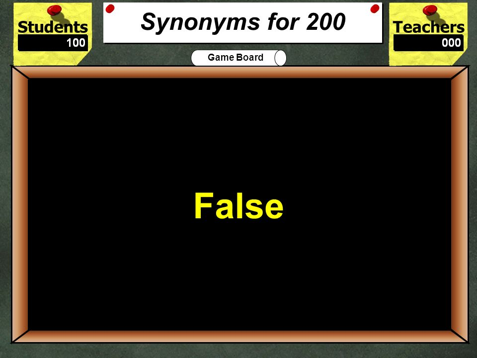 StudentsTeachers Game Board The synonym for big is: Large or Small? 100 Large Synonyms for 100