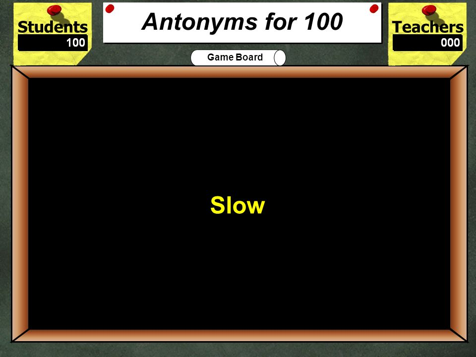 StudentsTeachers Game Board True or False: Triumphant and Victorious are Similes. 500 True Synonyms for 500