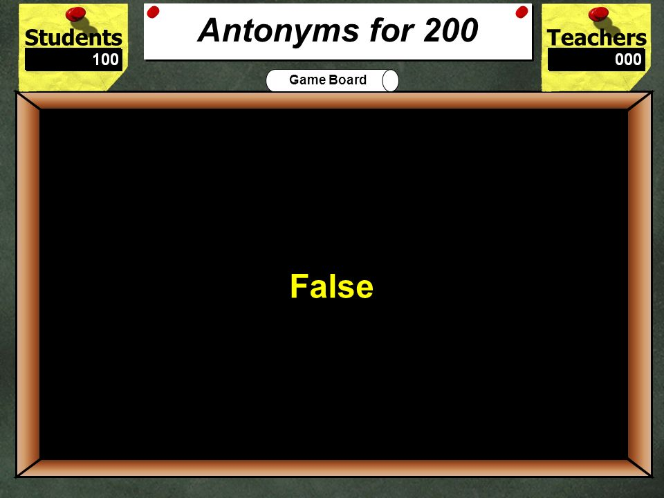 StudentsTeachers Game Board The best antonym for fast is: Speedy or Slow ? 100 Slow Antonyms for 100