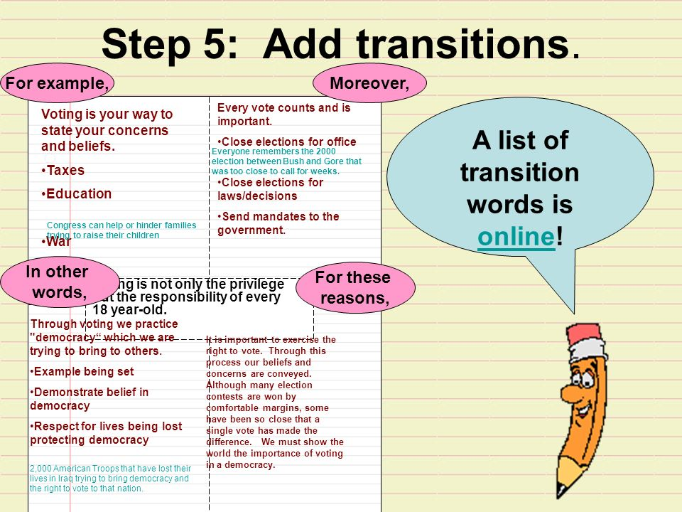 Step 5: Add transitions. Voting is your way to state your concerns and beliefs.