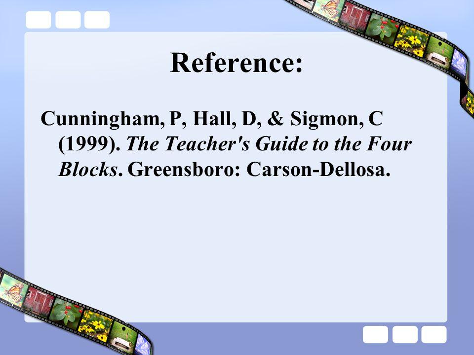 Reference: Cunningham, P, Hall, D, & Sigmon, C (1999). The Teacher's Guide to the Four Blocks. Greensboro: Carson-Dellosa.