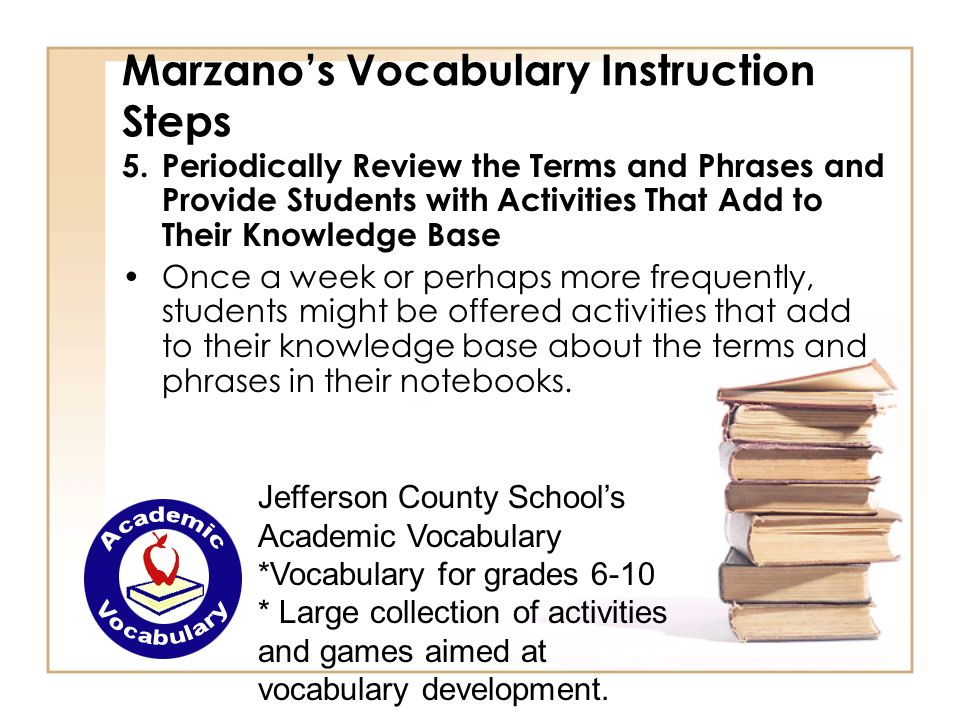 Marzanos Vocabulary Instruction Steps 5.Periodically Review the Terms and Phrases and Provide Students with Activities That Add to Their Knowledge Bas