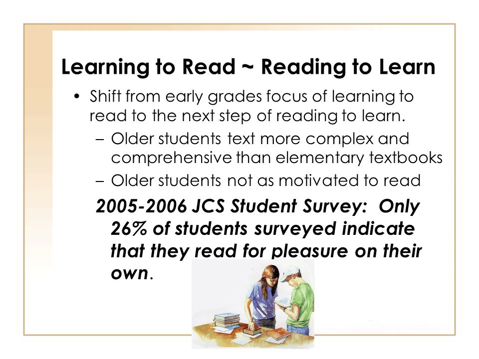 Improving Reading Instruction Professional development Ongoing formative assessment of students – prevent overlooking learning gaps Ongoing formative assessment of programs – evaluate the effectiveness of programs http://www.all4ed.org