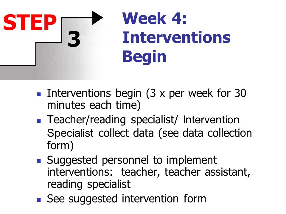Week 4: Interventions Begin Interventions begin (3 x per week for 30 minutes each time) Teacher/reading specialist/ Intervention Specialist collect data (see data collection form) Suggested personnel to implement interventions: teacher, teacher assistant, reading specialist See suggested intervention form STEP 3
