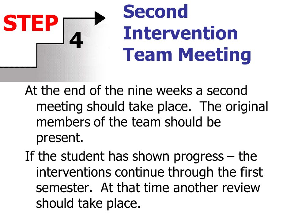Second Intervention Team Meeting At the end of the nine weeks a second meeting should take place. The original members of the team should be present.