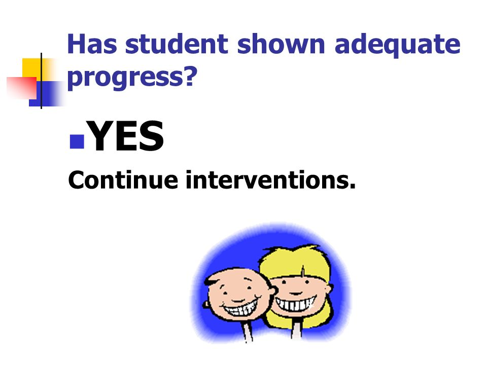 Has student shown adequate progress YES Continue interventions.