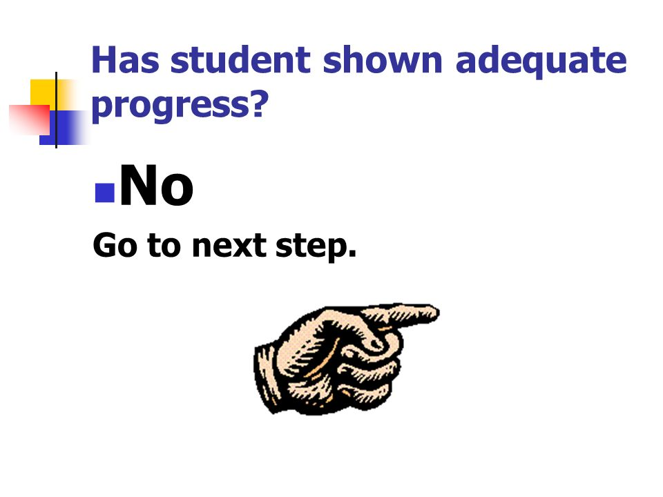 Has student shown adequate progress? No Go to next step.