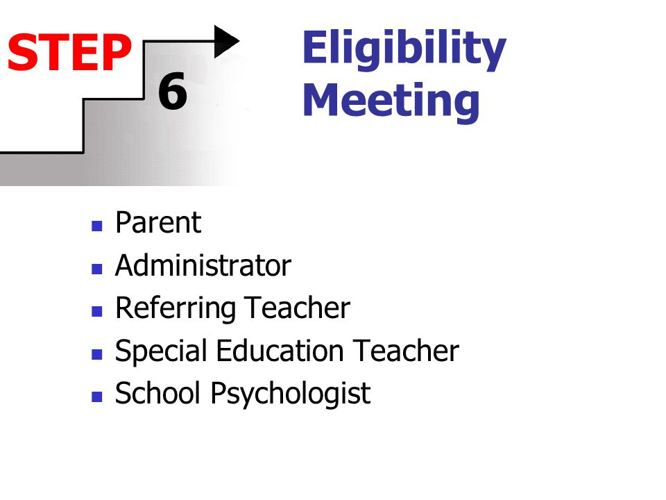 Eligibility Meeting Parent Administrator Referring Teacher Special Education Teacher School Psychologist STEP 6