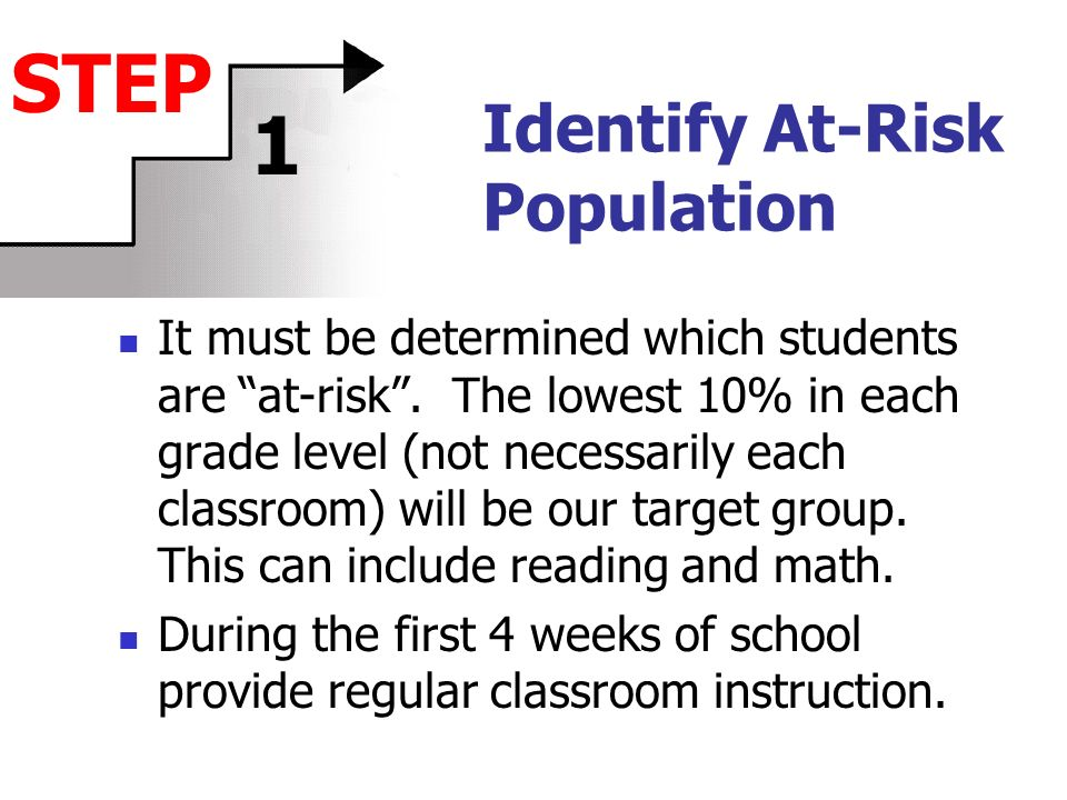 Identify At-Risk Population It must be determined which students are at-risk.