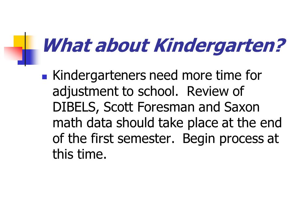 What about Kindergarten. Kindergarteners need more time for adjustment to school.
