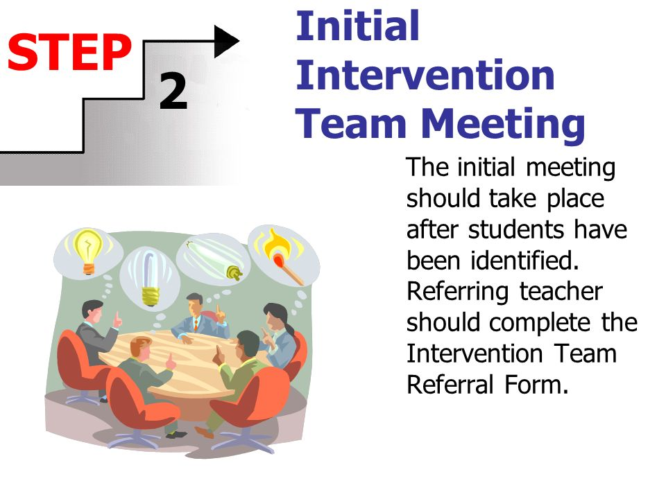 Initial Intervention Team Meeting The initial meeting should take place after students have been identified.