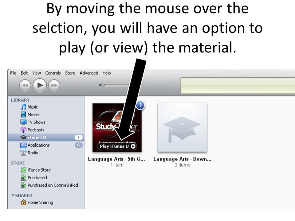 By moving the mouse over the selction, you will have an option to play (or view) the material.