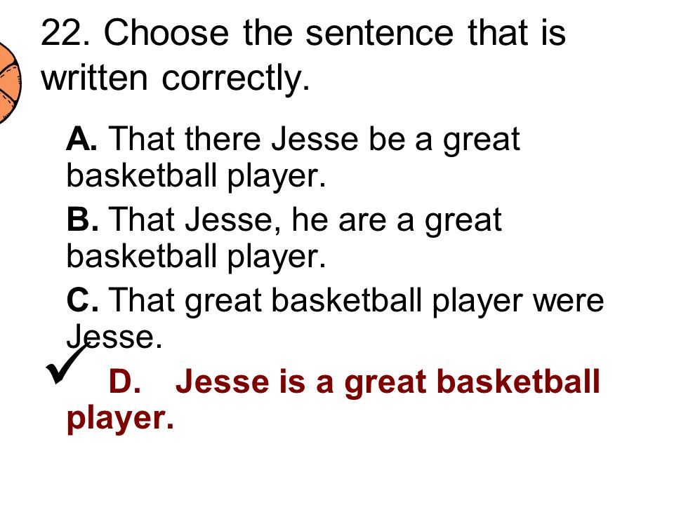 22. Choose the sentence that is written correctly.