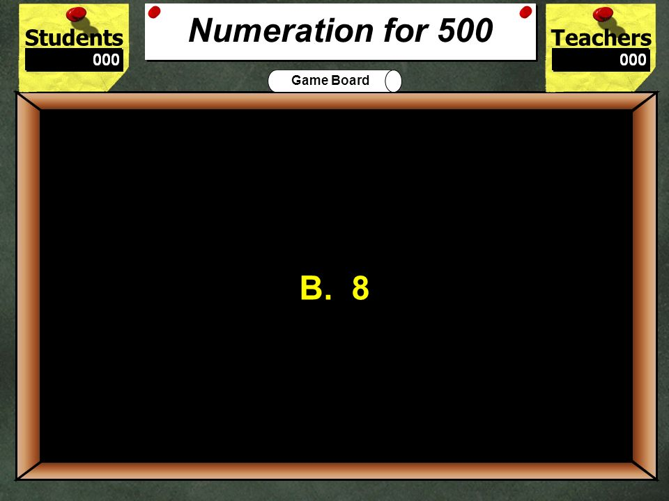 StudentsTeachers Game Board Which of these is another way to write 1,400? A. one hundred fifty B. fourteen thousand C. fourteen hundred D. four thousa