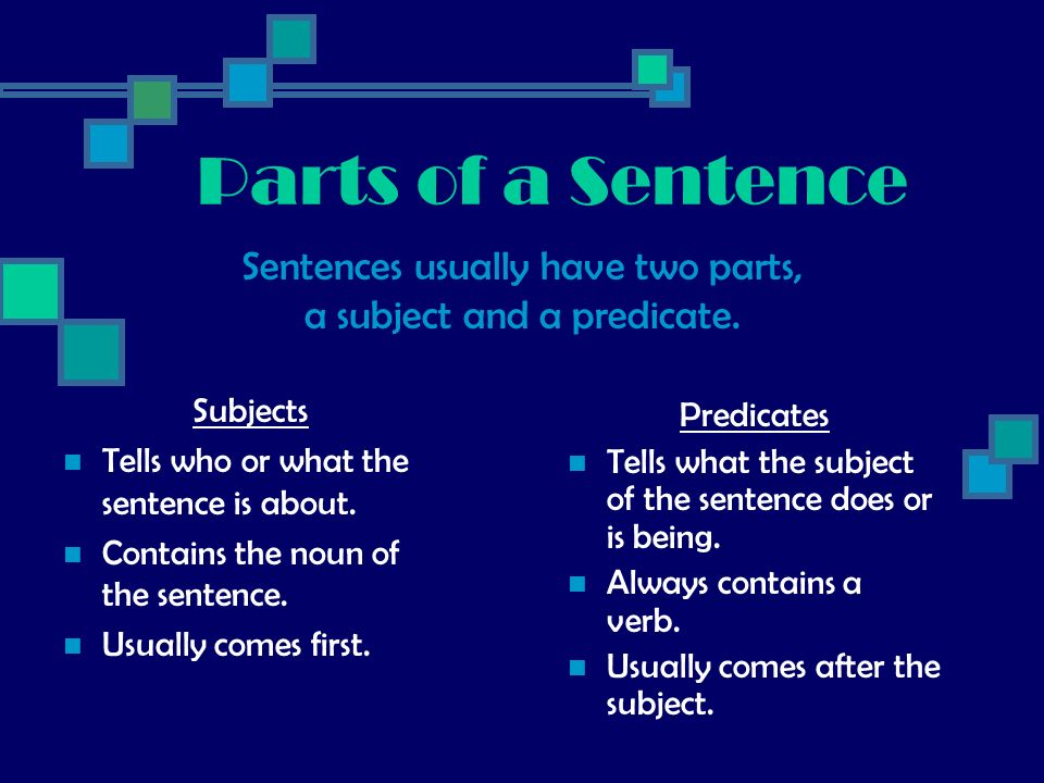 Parts of a Sentence Subjects Tells who or what the sentence is about. Contains the noun of the sentence. Usually comes first. Predicates Tells what th
