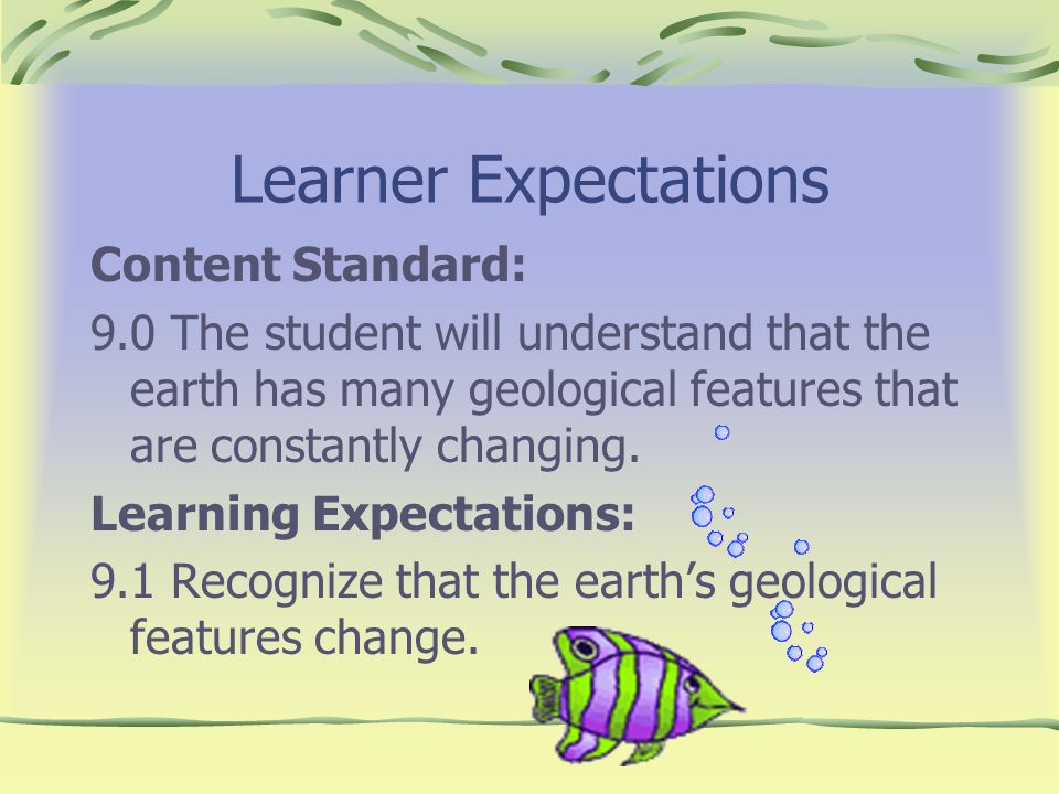 Learner Expectations Content Standard: 9.0 The student will understand that the earth has many geological features that are constantly changing. Learn
