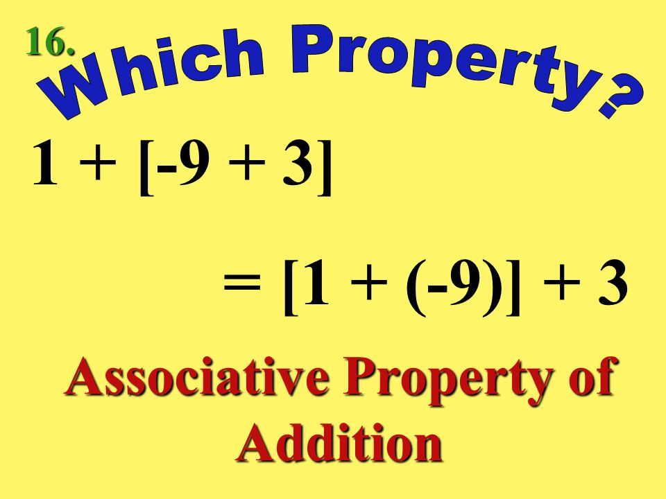 3 + (-3) = 0 Inverse Property of Addition 15.