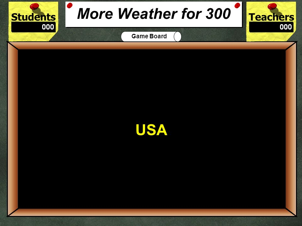 StudentsTeachers Game Board A person who studies weather is called a _____. 200 METEOROLOGIST More Weather for 200