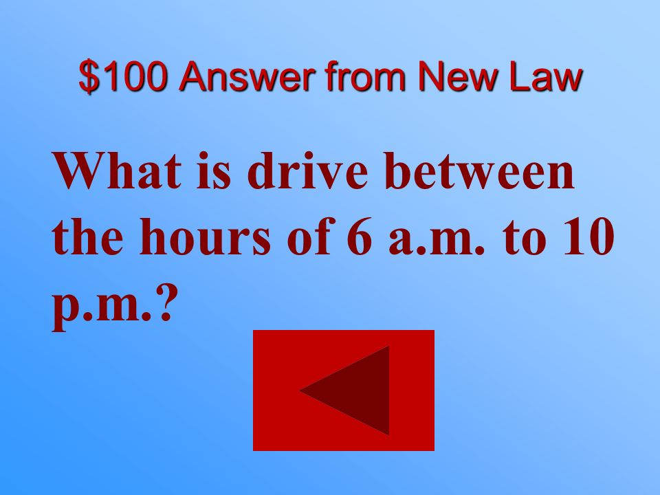 $100 statement from New Law The new driving hours for a learner permit.