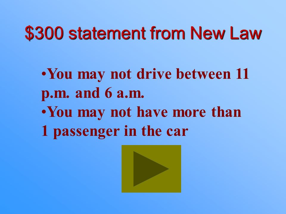 $200 Answer from New Law What is Intermediate Restricted License?