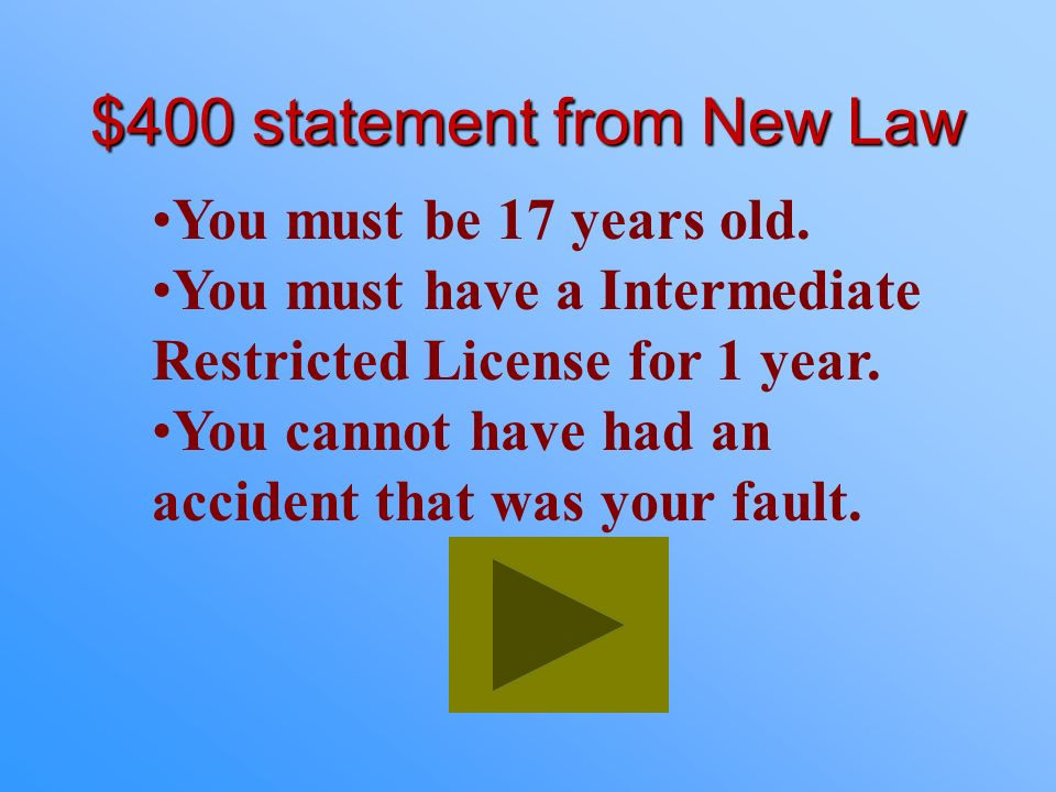 $300 Answer from New Law What are Restrictions of the Intermediate Restricted License?