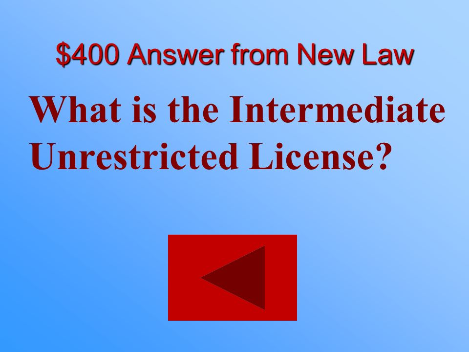 $400 statement from New Law You must be 17 years old. You must have a Intermediate Restricted License for 1 year. You cannot have had an accident that